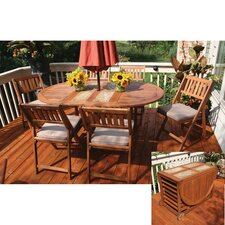 <strong>Outdoor Interiors</strong> 7 Piece Fold and Store Dining Set