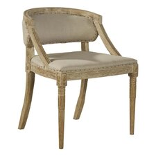 Carved Oak and Linen Arm Chair