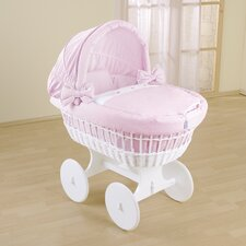 Kids Wicker Hood Crib in Pink
