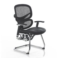 Wave Mesh Back Leather Chair