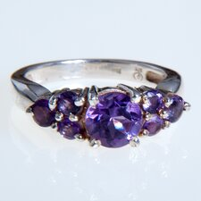 Faceted Amethyst Sterling Silver Ring