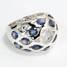 Sterling Silver Rainbow and Iolite Ring