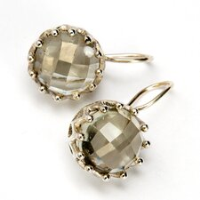 Green Amethyst Round Gemstone Sterling Silver Earrings