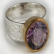 Handmade Amethyst Gold Plated Ring