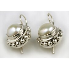 Sterling Silver Round Pearl Earrings