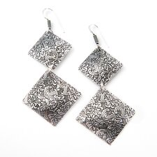 Handmade Double Squares Floral Earrings