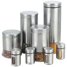 8 Piece Canister & Spice Jar Set in Silver