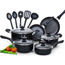 <strong>Cook N Home</strong> 15-Piece Soft Handle Nonstick Cookware Set