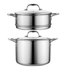 8-qt Stock Pot with Steamer and Glass Lid