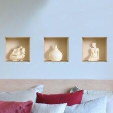 3D Effect Ceramic Figure Wall Decal (3-Piece Set)
