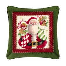 Mr. Claus with Stocking Needlepoint Pillow