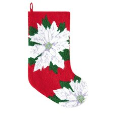 Poinsettia Hooked Stocking