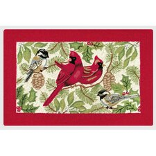 Holiday Song Birds Hooked Rug
