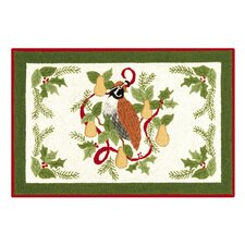 Partridge in a Pear Tree Hooked Rug