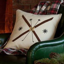 Crossed Ski Porch Cotton Pillow