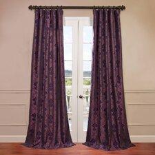 Fiori Dahlia Flocked Faux Silk Curtain Single Panel