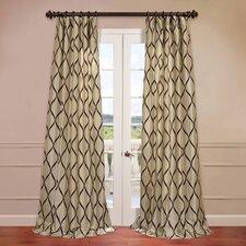 Piscean Flocked Faux Silk Curtain Single Panel