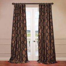 Taurean Flocked Faux Silk Curtain Single Panel