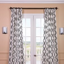 Ogee Printed Cotton Rod Pocket Curtain Single Panel