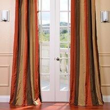 Faux Silk Taffeta Stripe Rod Pocket Curtain Panel