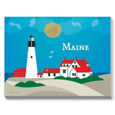 Maine Graphic Art on Canvas