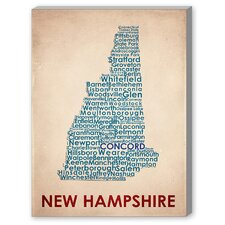 New Hampshire Textual Art on Canvas