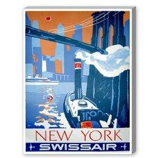 New York Swissair Vintage Advertisement on Canvas