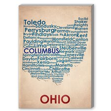 Ohio Textual Art on Canvas