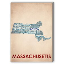 Massachusetts Textual Art on Canvas