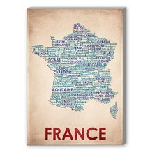 France Textual Art on Canvas