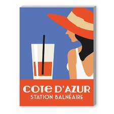 Cote D'Azure, Station Balneaire Graphic Art on Canvas in Orange