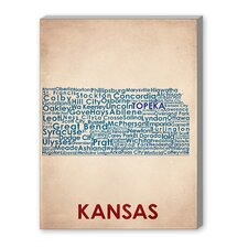 Kansas Textual Art on Canvas
