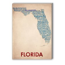 Florida Textual Art on Canvas