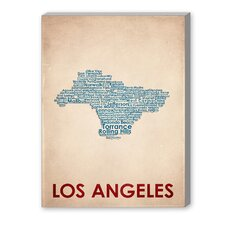 Los Angeles Textual Art on Canvas