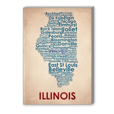 Illinois Textual Art on Canvas