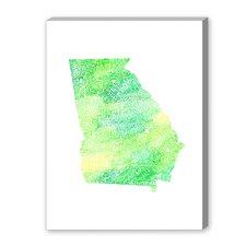 Georgia Green Water Textual Art on Canvas
