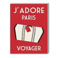 J'Adore Paris, Voyage Vintage Advertisement on Canvas