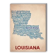 Louisiana Textual Art on Canvas