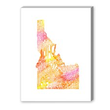 Idaho Orange Water Textual Art on Canvas