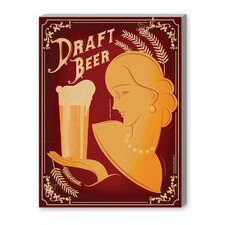 Draft Beer Vintage Advertisement on Canvas
