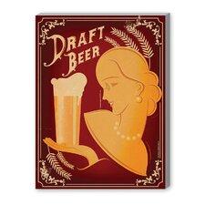 Draft Beer Vintage Advertisement on Canvas