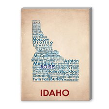Idaho Textual Art on Canvas
