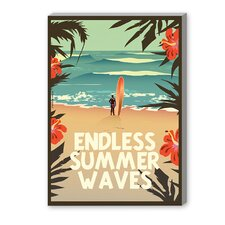Endless Summer Wave Graphic Art on Canvas