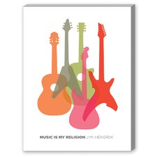Music is My Religion Hendrix Graphic Art on Canvas