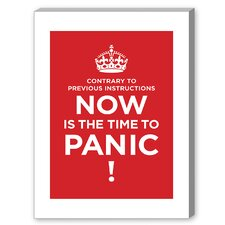 Panic Textual Art on Canvas in Red