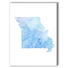 Missouri Blue Water Textual Art on Canvas