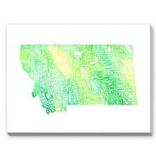 Montana Green Water Textual Art on Canvas