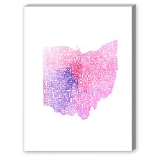 Ohio Pink Water Textual Art on Canvas