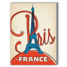 Paris, France Painting Print on Canvas in Red