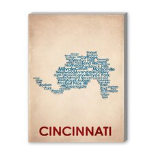 Cincinati Textual Art on Canvas